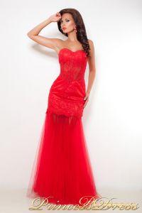 Вечернее платье 1044. Цвет красный. Вид 1