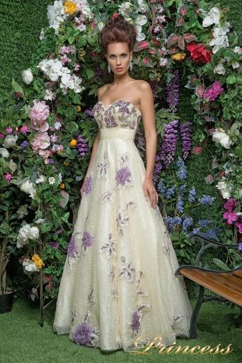 Вечернее платье 12033. Цвет шампань. Вид 2