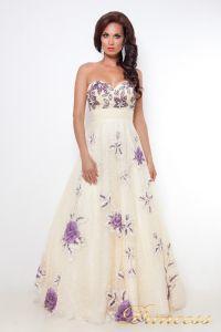 Вечернее платье 12033. Цвет шампань. Вид 1