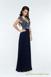 Вечернее платье 12057. Цвет синий. Вид 2