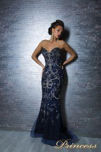 Вечернее платье 12059. Цвет синий. Вид 2
