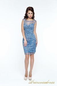 Коктейльное платье 12073. Цвет синий. Вид 2