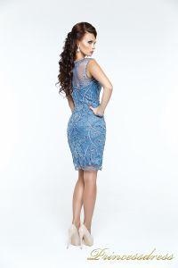 Коктейльное платье 12073. Цвет синий. Вид 3