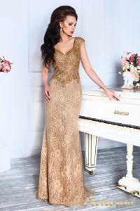Вечернее платье 12082. Цвет коричневый. Вид 4