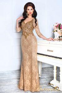 Вечернее платье 12082. Цвет коричневый. Вид 1
