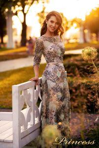Вечернее платье NF-216028-print. Цвет розовый. Вид 1