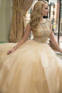 вечернее платье 131232. Цвет персиковый. Вид 1