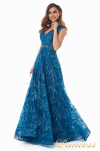 Вечернее платье 13176 teal. Цвет синий. Вид 1