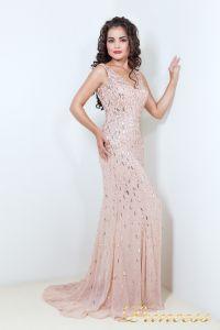 Вечернее платье в пол цвета пудры 1321P. Цвет розовый. Вид 2