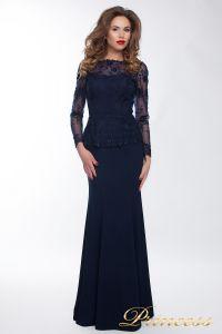 Вечернее платье 13526 navy smal. Цвет синий. Вид 1