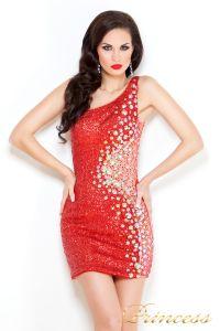 Коктейльное платье 1370R. Цвет красный. Вид 1