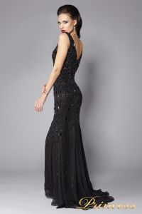 Вечернее платье черное в пол 1321B . Цвет чёрный. Вид 2