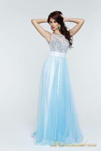 Вечернее платье 140070. Цвет бирюзовый. Вид 1