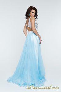 Вечернее платье 140070. Цвет бирюзовый. Вид 3
