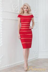 Коктейльное платье 16002 red - nude. Цвет цветное . Вид 2