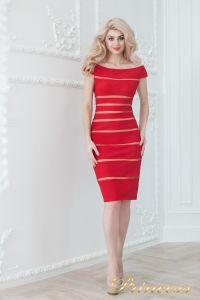 Коктейльное платье 16002 red - nude. Цвет цветное . Вид 1