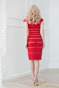Коктейльное платье 16002 red - nude. Цвет цветное . Вид 3