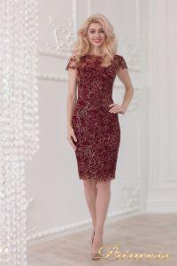 Коктейльное платье 1645 wine - gold. Цвет малиновый. Вид 1
