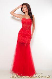 Коктейльное платье 10444. Цвет красный. Вид 2