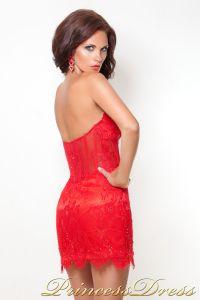 Коктейльное платье 10444. Цвет красный. Вид 3