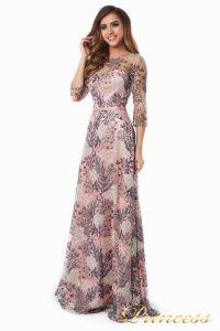 Вечернее платье 216028 flowers. Цвет шампань. Вид 2