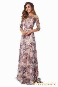 Вечернее платье 216028 flowers. Цвет шампань. Вид 1