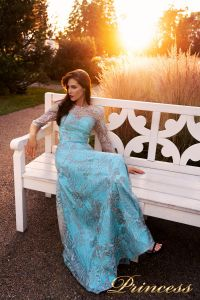 Вечернее платье NF-216028-trq. Цвет бирюзовый. Вид 2