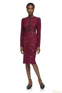 Вечернее платье Tadashi Shoji AYV17792M WINE NUDE. Цвет красный. Вид 1