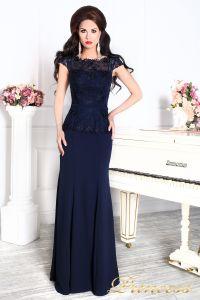 Вечернее платье 12084 темно синего цвета navy. Цвет синий. Вид 1