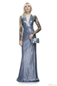 Вечернее платье AAX17667L PEWTER CL18AAX SILVER. Цвет серебро. Вид 1