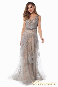 вечернее платье 6146. Цвет стальной. Вид 2