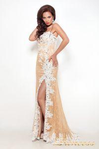 Вечернее платье 9008E. Цвет пудра. Вид 1