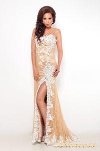 Вечернее платье 9008E. Цвет пудра. Вид 2