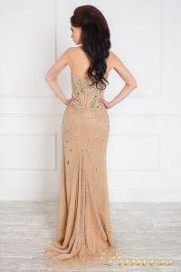 Вечернее платье 96127. Цвет бежевый. Вид 2