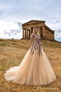 Вечернее платье 9902-B. Цвет бежевый. Вид 1