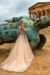 Вечернее платье 9902-B. Цвет бежевый. Вид 2