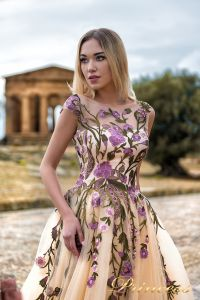 Вечернее платье 9902-B. Цвет бежевый. Вид 3