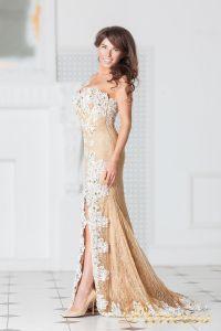 Вечернее платье 9008E. Цвет пудра. Вид 4