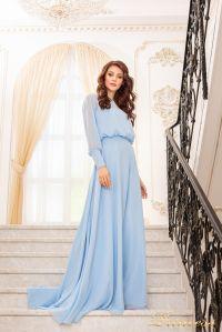 Вечернее платье 19050-B. Цвет голубой. Вид 1