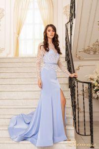 Вечернее платье 19056. Цвет голубой. Вид 3