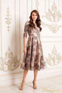 Коктейльное платье 19055. Цвет пудра. Вид 1