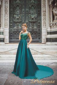 Вечернее платье 8031. Цвет зеленый. Вид 1