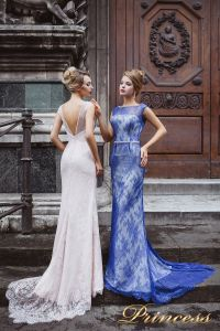 Вечернее платье 8032. Цвет бежевый. Вид 1
