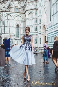Вечернее платье 8034. Цвет голубой. Вид 1