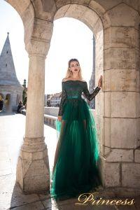 Вечернее платье 8048. Цвет зеленый. Вид 2