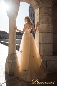 Вечернее платье 7049. Цвет бежевый. Вид 2
