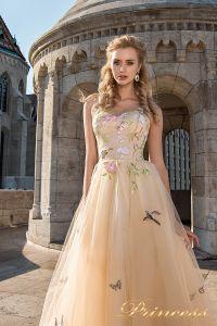 Вечернее платье 7049. Цвет бежевый. Вид 3