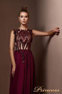 Вечернее платье 9070. Цвет бордовый. Вид 3