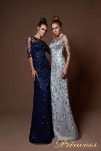 Вечернее платье 9076. Цвет стальной. Вид 2