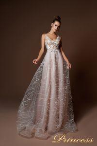 Вечернее платье 9077. Цвет бежевый. Вид 2